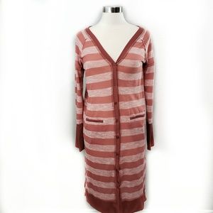 Very J Coral Striped Long Lightweight Cardigan